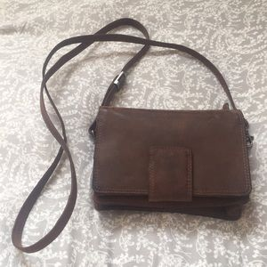 buffalo hide dark brown crossbody purse A.klis